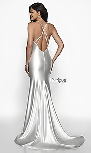Image of iNtrigue by Blush long evergreen satin prom dress. Style: BL-IN-544 Back Image
