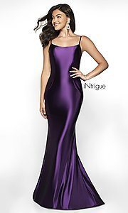 Image of long v-back sleeveless scoop-neck prom dress. Style: BL-IN-545 Detail Image 3