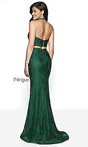 Image of lace two-piece halter long prom dress with train. Style: BL-IN-546 Back Image