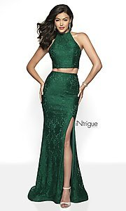 Image of lace two-piece halter long prom dress with train. Style: BL-IN-546 Detail Image 2