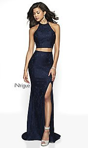 Image of lace two-piece halter long prom dress with train. Style: BL-IN-546 Front Image