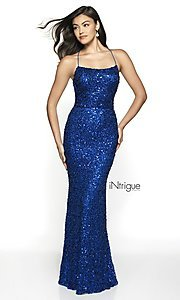Image of iNtrigue by Blush sequin prom dress in royal blue. Style: BL-IN-551 Front Image