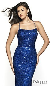 Image of iNtrigue by Blush sequin prom dress in royal blue. Style: BL-IN-551 Detail Image 1