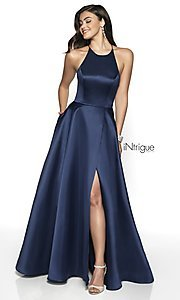Image of long high-neck a-line satin prom dress. Style: BL-IN-571 Front Image