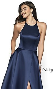 Image of long high-neck a-line satin prom dress. Style: BL-IN-571 Detail Image 1