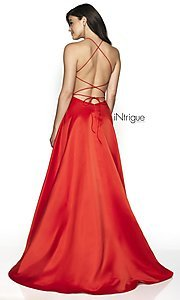 Image of long high-neck a-line satin prom dress. Style: BL-IN-571 Back Image