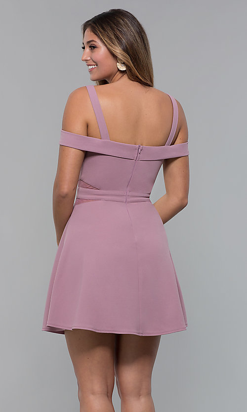 Image of cold-shoulder short jersey party dress by PromGirl. Style: MCR-PL-2658 Detail Image 4