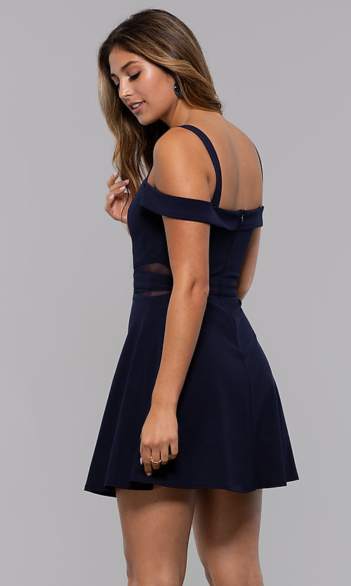 Image of cold-shoulder short jersey party dress by PromGirl. Style: MCR-PL-2658 Back Image
