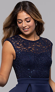 Image of sequin-lace-bodice short party dress by PromGirl. Style: MCR-PL-2651 Detail Image 1