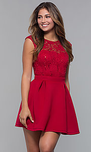 Image of sequin-lace-bodice short party dress by PromGirl. Style: MCR-PL-2651 Detail Image 4