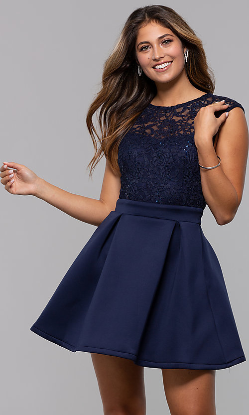 Image of sequin-lace-bodice short party dress by PromGirl. Style: MCR-PL-2651 Front Image