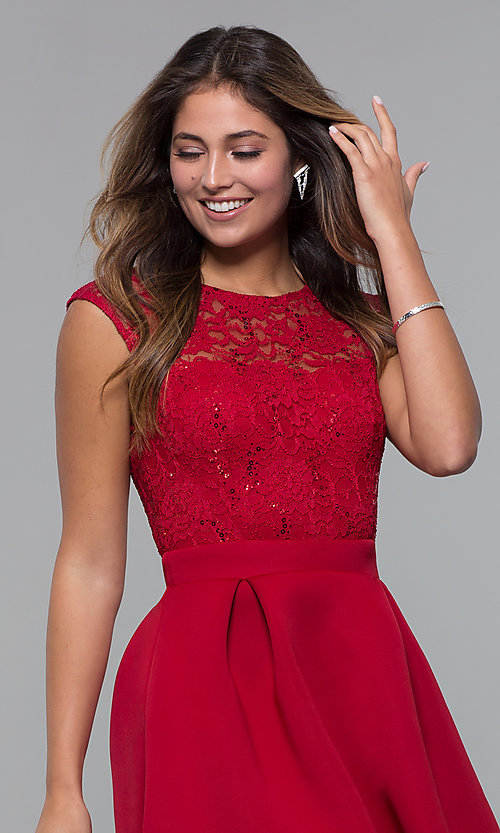Image of sequin-lace-bodice short party dress by PromGirl. Style: MCR-PL-2651 Detail Image 6