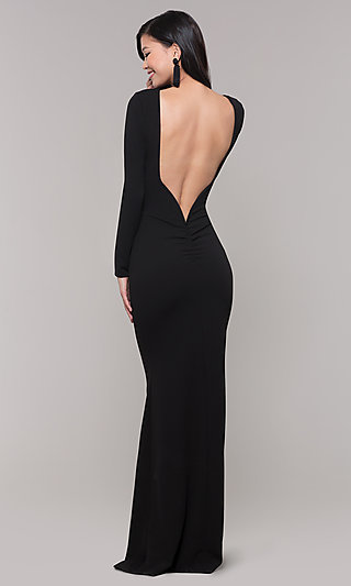 Long-Sleeve Black Prom Dress with Open Back