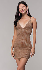 Image of gold short rib-knit v-neck holiday party dress. Style: AC-DS24615B Front Image