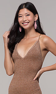 Image of gold short rib-knit v-neck holiday party dress. Style: AC-DS24615B Detail Image 1