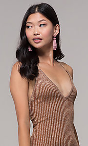 Image of gold short rib-knit v-neck holiday party dress. Style: AC-DS24615B Detail Image 2