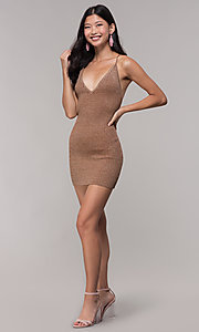 Image of gold short rib-knit v-neck holiday party dress. Style: AC-DS24615B Detail Image 3