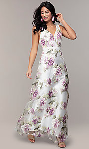 Image of long v-neck floral-print prom dress in organza. Style: MT-9772 Detail Image 3