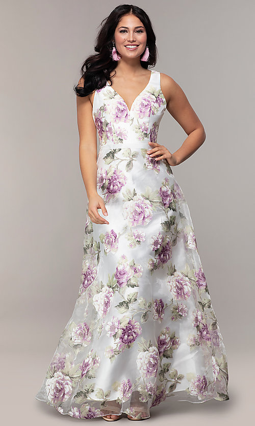 Image of long v-neck floral-print prom dress in organza. Style: MT-9772 Front Image
