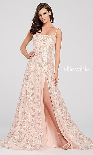 Sequin Designer Prom Dress with Back Cut Out