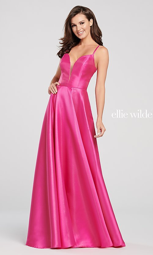 Image of long metallic designer prom dress with caged back. Style: TB-EW119181 Detail Image 3