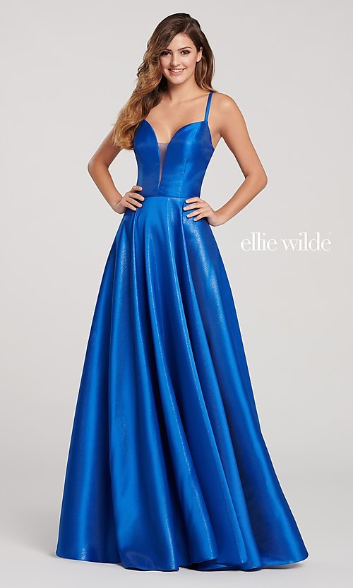 Image of long metallic designer prom dress with caged back. Style: TB-EW119181 Front Image