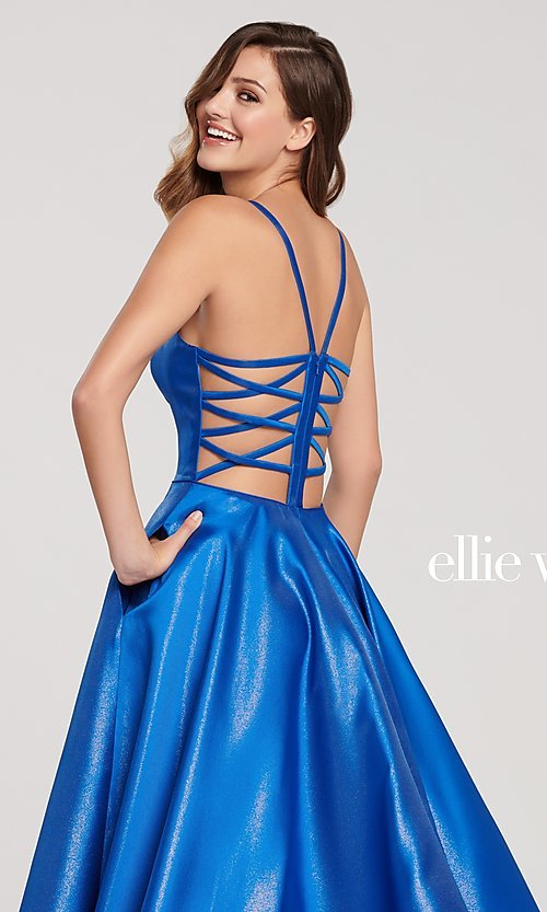 Image of long metallic designer prom dress with caged back. Style: TB-EW119181 Detail Image 2