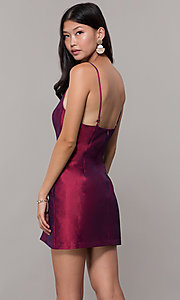Image of short v-neck holiday party dress with open back. Style: LUX-LD5088 Detail Image 6
