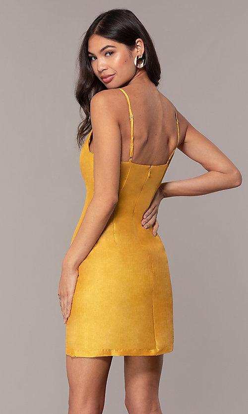 Image of short v-neck holiday party dress with open back. Style: LUX-LD5088 Detail Image 4