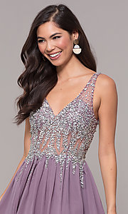 Image of embellished-bodice long prom dress with v-neckline. Style: SOI-W17852 Detail Image 6
