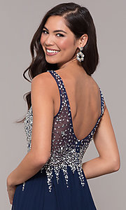 Image of embellished-bodice long prom dress with v-neckline. Style: SOI-W17852 Detail Image 2