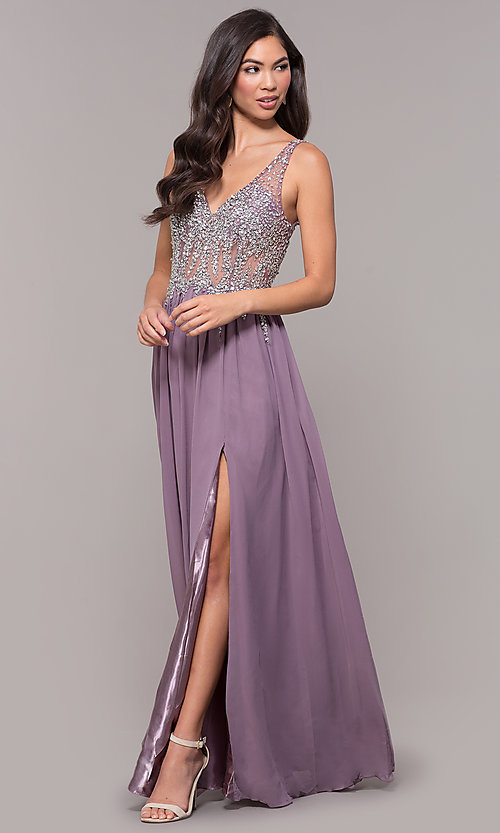 Image of embellished-bodice long prom dress with v-neckline. Style: SOI-W17852 Detail Image 8