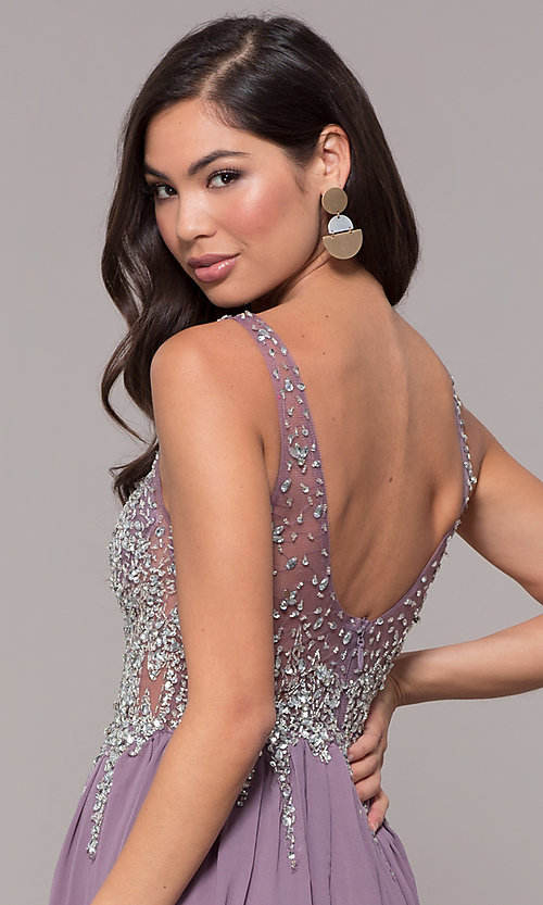 Image of embellished-bodice long prom dress with v-neckline. Style: SOI-W17852 Detail Image 7