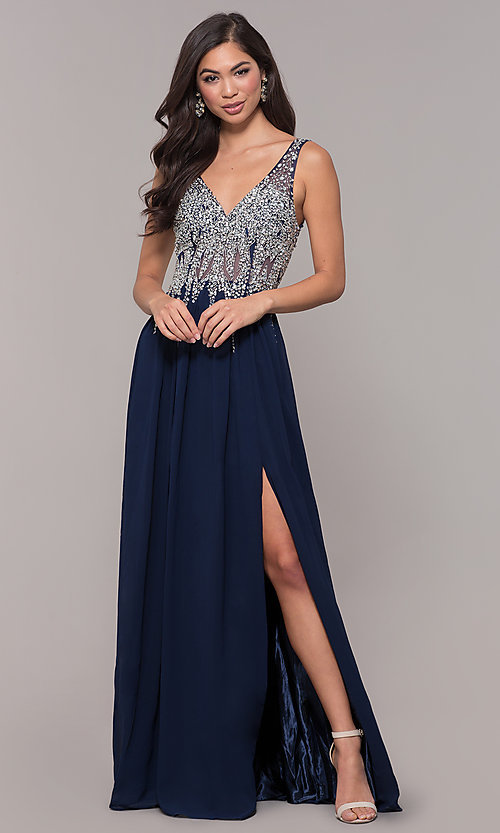 Image of embellished-bodice long prom dress with v-neckline. Style: SOI-W17852 Detail Image 3