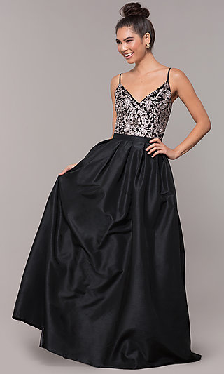 Long Taffeta Prom Dress with Embroidered Bodice