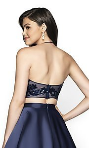 Image of long two-piece a-line halter prom dress by FLAIR. Style: BL-FL-19003 Detail Image 2