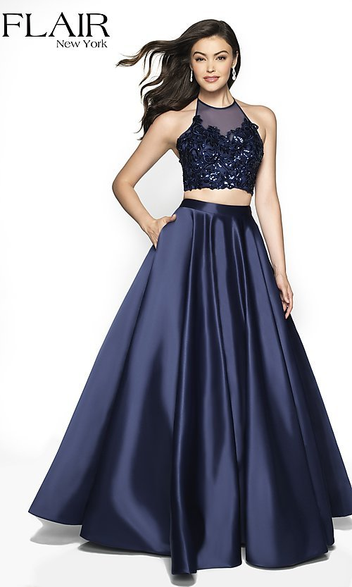 Image of long two-piece a-line halter prom dress by FLAIR. Style: BL-FL-19003 Front Image