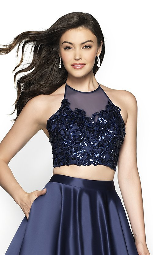 Image of long two-piece a-line halter prom dress by FLAIR. Style: BL-FL-19003 Detail Image 1