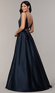 Image of long open-v-back v-neck FLAIR prom dress. Style: BL-FL-19016 Detail Image 4
