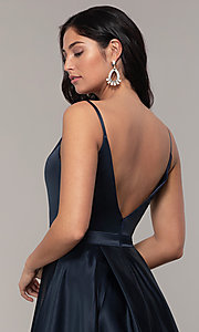 Image of long open-v-back v-neck FLAIR prom dress. Style: BL-FL-19016 Detail Image 6