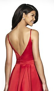 Image of long open-v-back v-neck FLAIR prom dress. Style: BL-FL-19016 Detail Image 2