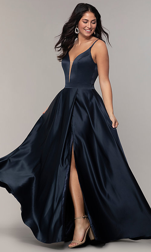 Image of long open-v-back v-neck FLAIR prom dress. Style: BL-FL-19016 Detail Image 3