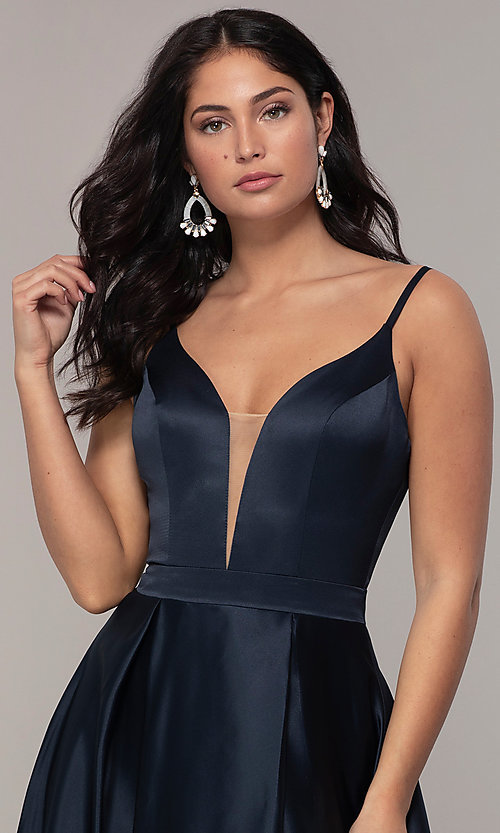 Image of long open-v-back v-neck FLAIR prom dress. Style: BL-FL-19016 Detail Image 5
