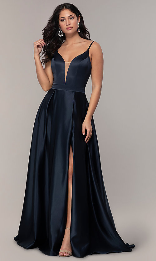Image of long open-v-back v-neck FLAIR prom dress. Style: BL-FL-19016 Detail Image 7
