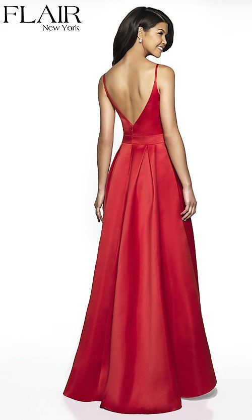 Image of long open-v-back v-neck FLAIR prom dress. Style: BL-FL-19016 Back Image