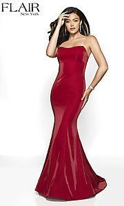 Image of long designer FLAIR prom dress with train. Style: BL-FL-19126 Front Image