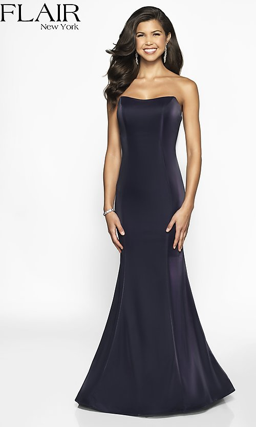 Image of long designer FLAIR prom dress with train. Style: BL-FL-19126 Detail Image 5