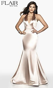 Image of long FLAIR mermaid-style designer prom dress. Style: BL-FL-19143 Detail Image 3