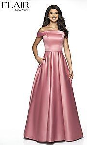 Image of off-the-shoulder prom dress with pockets. Style: BL-FL-19015 Front Image