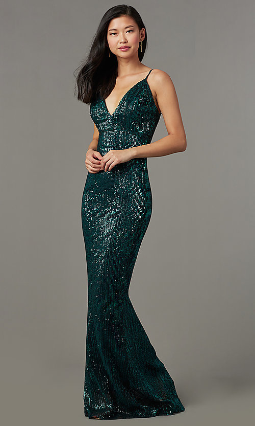 Long Formal Sequin-Mesh V-Neck Prom Dress
